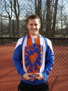 "Midfielder, Eric Kissinger, sporting the ""sweet"" 2014 supporters scarf."
